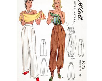 1940s high waist trousers workwear or jodhpurs sewing pattern PICK YOUR SIZE xs s m l reproduction