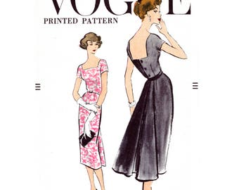 1950s dress vintage sewing pattern reproduction LBD wiggle dress back panel bust 32 34 36 38 40