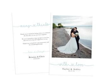 Wedding Thank You Card, Printable Wedding Thank You, Wedding Photo Thank You, Wedding Thank You Postcard, Thank You Photo Postcard