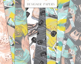 Fitness Girl Digital Paper Pack Sport Workout Gym Brush Strokes Seamless Pattern | planner stickers, graphics  resources, Fabric, Backdrop