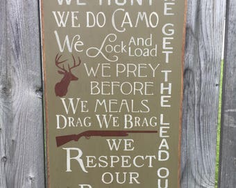 In This House We Hunt, Distressed Wall Sign ..Hunting Sign FREE SHIPPING