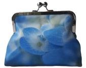 Cornflower Blue Hydrangea Flower Satin Silver Tone Clasp Frame Clutch Purse Evening Bag