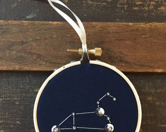 Leo Zodiac Ornament, Leo Constellation, Leo Starsign, Hand Embroidered Hoop Art, Leo Wall Decor, July Birthday, August Birthday