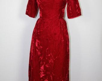 Red crushed velvet dress, Handmade, Velvet, Holiday, Dress, Full Length, Fitted, Christmas, Party
