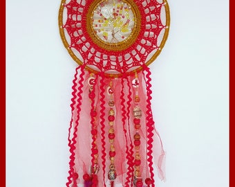 "Dream catcher ""Ember"" crocheted red cotton with tulle, feathers and beads"