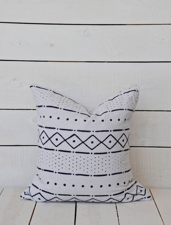 Mud Cloth style pillow cover, mixed pattern #1, shown in 20x20 and available in 16x16, 18x18, 20x20, 16x24 and 16x26.