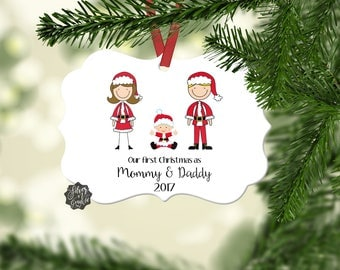 Our First Christmas, Personalized Ornament, Our First Christmas as Mommy and Daddy, Christmas Ornament, New Parents, New Baby, Baby Ornament
