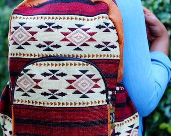 Handmade Burgundy Delaney Tribal Print Backpack