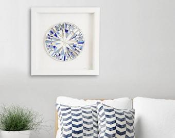 "Blue Wall Art, Framed Art, Modern Blue Decor, Shadow Box Frame, Abstract Art, Birthday Gift, Original, Art, ""Precious Blue"" – 42cm"