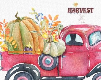 Autumn Harvest Watercolor Clipart, Truck watercolor, Pumpkin, Halloween, Fall, Vegetables, Garden Tools, Falling leaves clipart, Harvest
