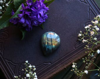 RESERVED * Green Orange Labradorite Cabochon