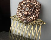 Gift-For-Her Copper Hair Comb - Wedding Hair Accessories - Hair Combs for Wedding - Bridal Hair Comb - Hair Comb Weddings Wedding Headpiece