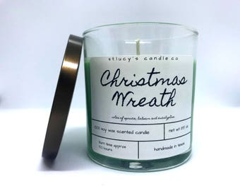 Christmas Wreath Soy Scented Candle | Christmas Candle | Winter Candle | Tree Candle | Gift for Her