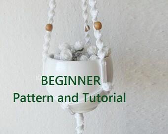 DIY tutorial for 19'' long modern macrame indoor plant holder-digital download, macrame e-pattern, DIY plant hanger pdf