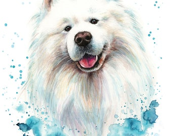 Custom Dog Portrait, custom pet portrait, original watercolour painting made to order, dog or cat painting