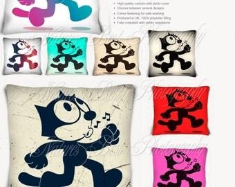 Felix the Cat  Cartoon Character Cushion  Vintage Black & White Pink red Yellow Rainbow Purple Blue  Art Print   #Felix