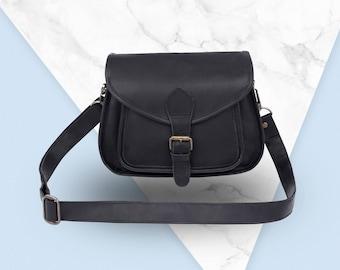 Black Leather Saddle Bag - Small Cross Body Bag - MAHI Leather
