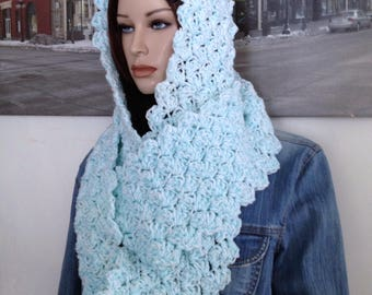 Long Infinity Scarf, Blue & White Scarf Ready to Ship