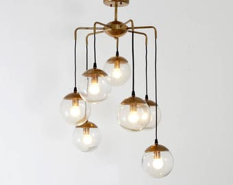 Modernist chandelier glass balls ceiling light pendant lamp mid century modern handcrafted brass bubbles chandelier ceiling light lamp 70s aloadofball Image collections
