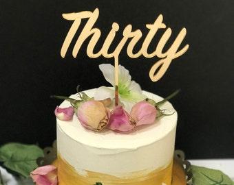 Thirty Birthday Cake Topper,Personalized Birthday Topper,Laser Cut Cake Topper,Acrylic,Dirty Thirty,Flirty 30,30th,Happy Birthday