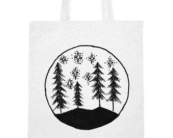 Hand printed cotton bag / jute bag with Trees and Stars print Black / White / 38 x 42 cm