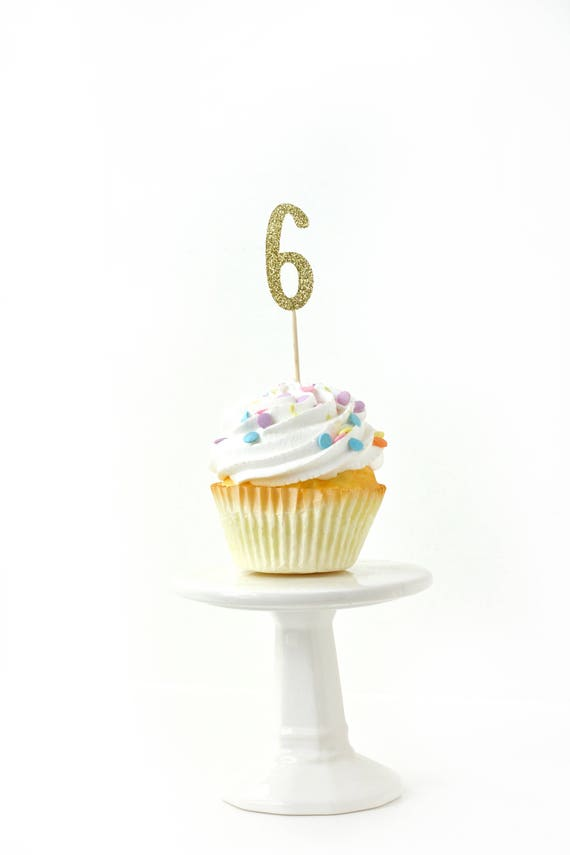 Number 6 Gold Glitter Cupcake Toppers, Number 6 Toothpicks, Gold Party Decor, Food Decoration, Sixth Birthday, 6th Birthday, Six Decor