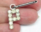 P zipper pull, personalized letter clip, rhinestone letter P, zipper pull, opal rhinestone clip, purse decoration