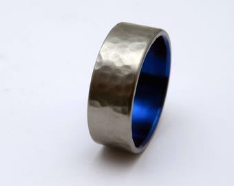 Hammered Titanium ring with Electron Blue   Handmade titanium wedding band