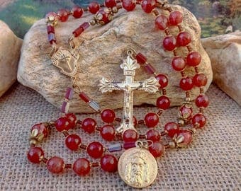 Complete with 5 Suffrages CHAPLET of the HOLY FACE Handcrafted Rosary Handmade Solid Brass Artisan Rosary Beads Catholic Heirloom Rosary