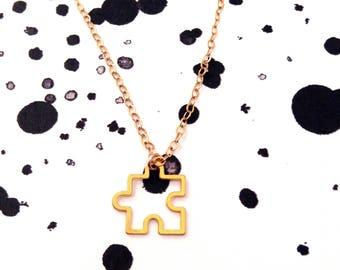 Puzzle Piece Necklace Gold Puzzle Necklace Dainty Charm Necklace Thin Chain Necklace Small  Minimalist Sterling Silver Beep Studio Icon
