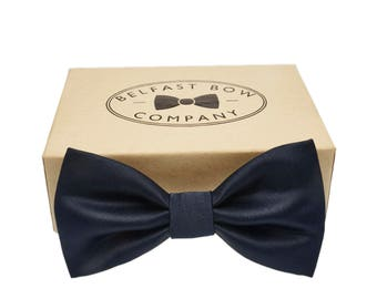 Handmade Satin Bow Tie in Rich Navy - Adult & Junior sizes available