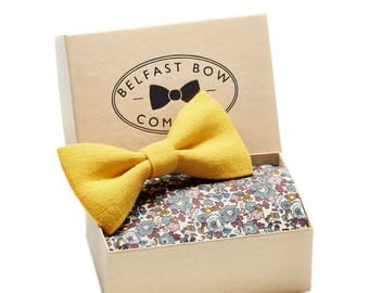 Liberty & Linen, Bow Tie and Pocket Square Set - 4 combinations available