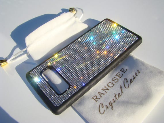 Galaxy Note 8 Clear Diamond Rhinestone Crystals on Black Rubber Note 8 Case. Velvet/Silk Pouch Bag Included, Genuine Rangsee Crystal Cases.