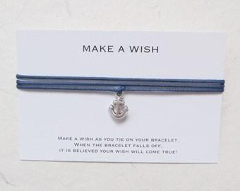 Wish bracelet, make a wish bracelet, friendship bracelet, anchor bracelet, W57