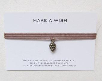 Make a wish bracelet, wish bracelet, pine cone bracelet