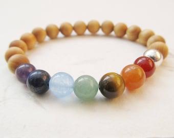 Chakra bracelet, wooden bracelet, yoga bracelet, chakra jewelry