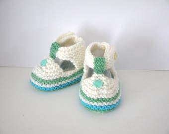 SHOES BOOTIES 6/9 months baby boy Sandals wool handmade ecru baby turquoise Green