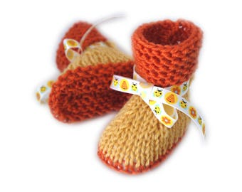 Baby booties 0/1 month bee yellow and Orange hand knitted