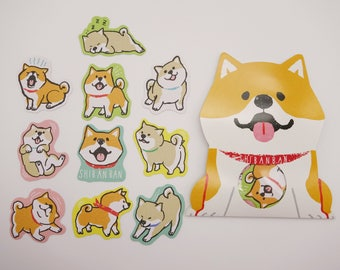 Shiba Inu stickers, kawaii shiba inu, kawaii sticker flakes, cute stickers, Japanese stickers, cute shiba inu, dog, cute planner stickers