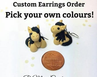Pick Your Own Colours - Custom Polymer Clay Horse/Unicorn Earrings