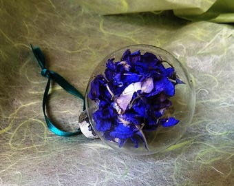 Glass Flower Bauble. Hanging ornament with real Larkspur flowers.
