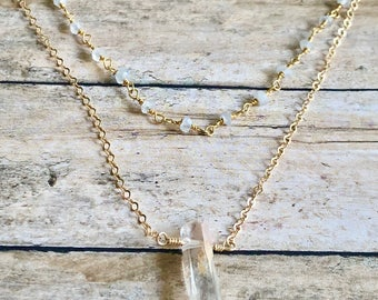 Phantom Moon // Phantom Quartz and Moonstone Rosary Necklace in Gold