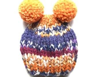 Child Knit Hat, Child Pom Pom Hat, Orange & Purple Knit Hat, Orange Pom Pom Hat, Newborn Knit Hat, Toddler Knit Hat, Kid Hat, Beanie