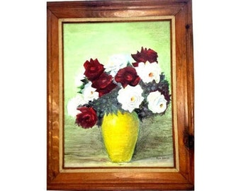 """Vintage Still Life Oil on Canvas,Swiss Artist,Max Weiss,1921-1996,LARGE,30"""" X 25"""",Still Life Painting,Painting on Canvas,Artist Signed,Roses"""