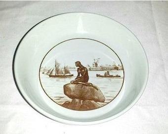 Royal Copenhagen Porcelain Little Mermaid Dish,Royal Copenhagen Denmark, Fajance,502-3921,Langelinie,1962,Brown,Mermaid Ring Holder,Mermaid