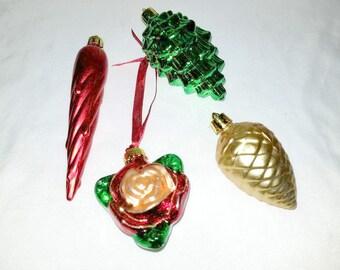 Vintage Mercury Glass Ornaments,Christmas Ornament,Hand Blown Glass Ornament,Rose Ornament,Christmas Tree Ornament,Pine Cone Ornament,Santa
