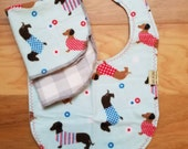 NEW!! Dachshund bib and wash cloth set. Flannel dachshund baby gift set. Dachshunds wearing sweaters. Dachshund baby gift for boy or girl