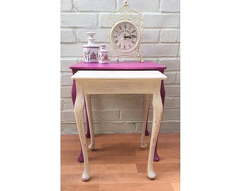 Beautiful Nest Of Side Tables In Purple & Cream - Frenchic Paint Annie Sloan Wax