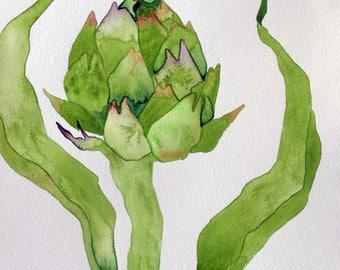 Kitchen art, original art, whimsical art, watercolor painting, artichoke art, vegetable art, gift for gardener, botanical art, gardener gift
