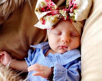 OLIVE FLORAL Gorgeous Wrap- headwrap; fabric head wrap; flower head wrap; newborn headband; baby headband; toddler headband; bow